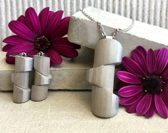 """Concrete jewelry set """"My lady silver"""", handmade jewelry, modern jewelry, concrete jewelry,  minimal jewelry, must have, Maky Beton"""