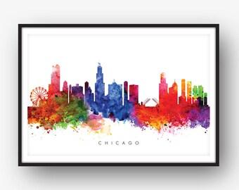 Chicago Skyline, Watercolor Print, illinois, Cityscape Art Print, Wall Art, Watercolour Art Decor [SWORD01]