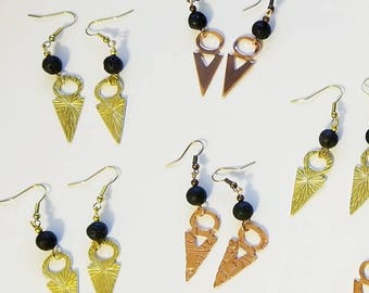 Copper or brass talhakimt/tanfouk earrings with black lava rock beads for essential oil diffusing, dangle