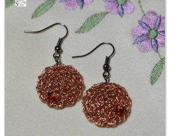 Crochet Wire Earrings / Copper Wire Earrings / Dangle Earrings / Lightweight Earrings / Fashion Earrings / Simple Earrings / Modern Earrings