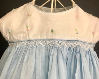 Vintage 1950 Smocked and Embroidered Baby Dress