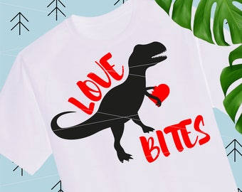 Love Bites svg Boy Valentine SVG Dinosaur svg Valentines Day quote Svg Valentine Shirts for Boys girls svg files for Cricut Silhouette lfvs