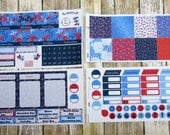 July Monthly Sticker Set, BIG HAPPY PLANNER, Americana Floral, 4th of July Monthly