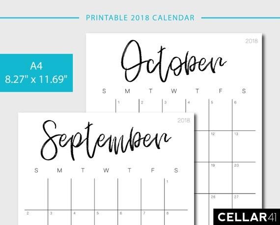 2018 Calendar Minimalist Printable : Calendar a printable monthly planner