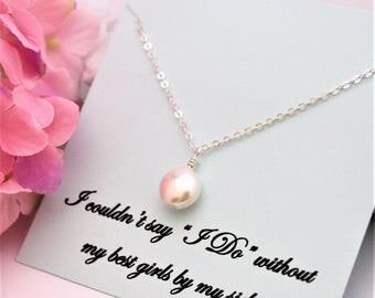 Set of 5,6,7,8 BRIDESMAID Necklace Bridesmaid Proposal Will you be My Bridesmaid, Bridesmaid Ask Bridesmaid Pearl Necklace Bridesmaid Gift