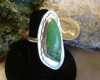 Lucin Variscite Ring Sterling Silver OOAK Large Statement Jewelry Statement Ring Size 9 Green   158G