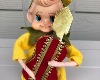 Christmas Blow Mold Elf, Christmas Elf, Knee Hugger Elf, Christmas Elf, Elf Ornament, Collectible Elf, Yellow Elf, Pixie Elf, Holiday