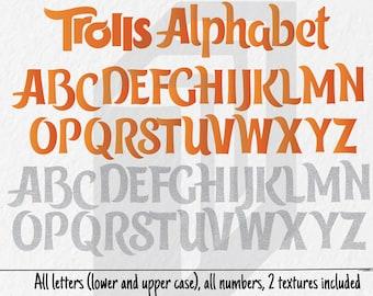 Trolls Alphabet, Trolls Letters, Trolls Font, Trolls Numbers, Trolls Cliparts, Trolls Invitation, Trolls Party, 300ppi, HD
