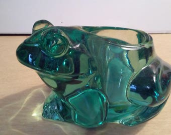 Indiana Glass Spanish Green Frog Candle Holder