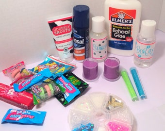 New fluffy large glue slime kit with add ins pinwheel!!