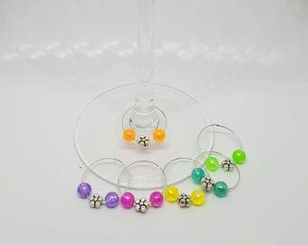 Small flower and bead wine glass charms