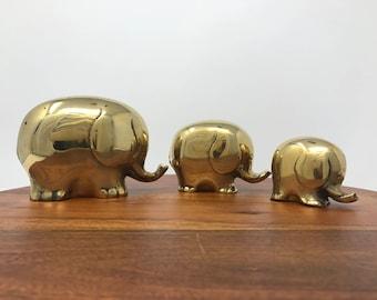 Mid Century Brass Elephant Figurines