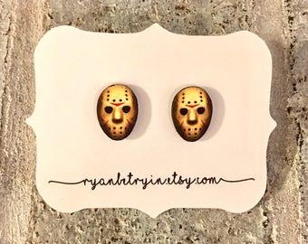 Jason Voorhees Earrings - Halloween Earrings - Friday the 13th - Stud Earrings - Vintage Halloween - Horror Fans - Horror Movies - Creepy