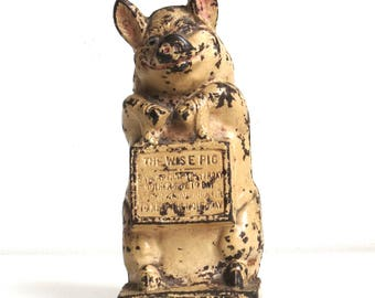 "Vintage Hubley Cast Iron ""Wise Pig"" Bank J.M.C. Original"