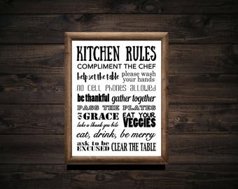 Kitchen Rules Typography Printable - Letter Size