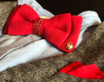 Red Denim Bow tie with Charm