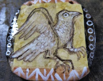 The Mighty Buzzard - Artisan made ceramic pendant - Medieval Bestiary - Hand Painted - OOAK
