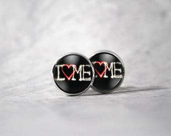 Cabochon 12 mm earring / love me