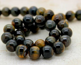 Blue Tiger Tiger's Eye Smooth Round Gemstone Beads (4mm 6mm 8mm 10mm)