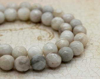 White Agate Round Faceted Gemstone Beads (6mm 8mm 10mm 12mm)
