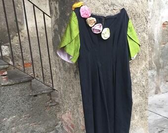 Black sartorial silk dress with flowers in Shantung handmade