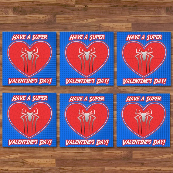 Spiderman Valentine's Day Cards - Spiderman School Valentines - Red & Blue Logo - Spiderman Party Printable - Superhero Valentine's Day Card