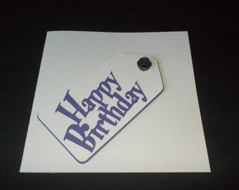 Happy Birthday - purple gift tag card