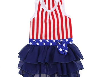 Red , White and Blue Patriotic Dog Dress