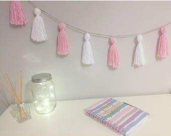 Baby pink & white yarn tassel garland