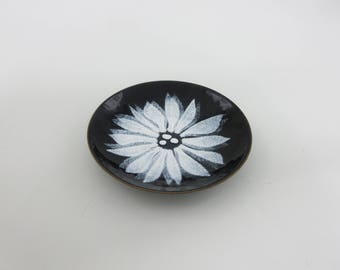 Mid Century Copper Enamel Bovano of Cheshire Mod Floral Dish Mod