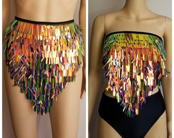 Multi-way sequins waist wrap and/or wrap top- edc- edm- festival- burning man- rave clothing- rave bottoms- coachella