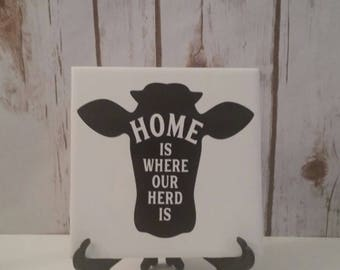 Farm Decorative Ceramic Tile Decor, Kitchen, Tile with saying, Christmas, Gift