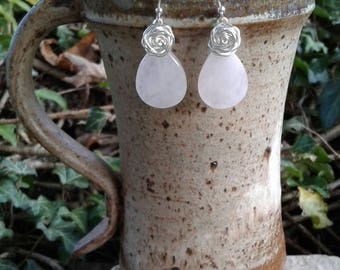 Rose Quartz Earrings, Solid Sterling Silver Rose Quartz Dangle Earrings with Wire Wrapped Roses