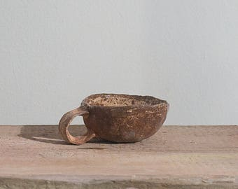 Handmade ceramic pinch pot mug, white and brown pottery cup