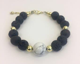 Howlite Marble and Lava Beaded Bracelet