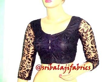 Readymade Designer Saree Blouse, Net Sari Blouse with 3/4 Sleeves, Black color Sari Top, Choli