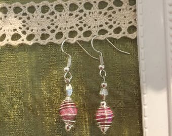 Silver handmade earrings caged glass beads