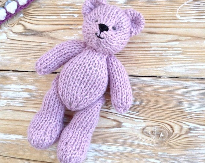 Newborn Photo Props, Knitted Teddy Bear, Baby Alpaka Soft Toy, Stuffed Animals, First Birthday Gift, Baby Girl Gift, Softies, 6 inch toy