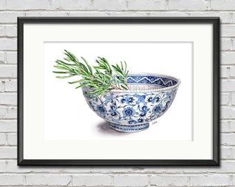 Rosemary in bowl, herb artwork, print of my original painting
