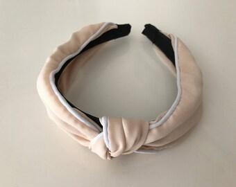 Cream knot headband, silk headband, women headband, handmade headband, knot headband,