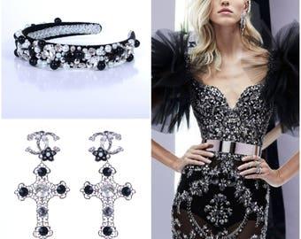 Black Baroque Headband, Set, Cross Earrings Black beaded headband with gold crystals Bridal crown Baroque beaded Headband with crystals