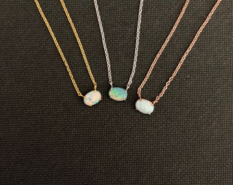Simple opal stone necklace
