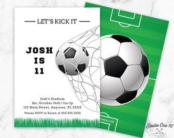 Soccer Birthday Invitation, Soccer Invitation, Soccer Party Invite, Soccer Party Invitations, Soccer Ball Invitation, Sports Birthday, SB01