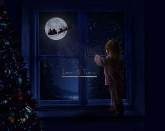 Santa moon window Christmas Digital Background set - Instant Download