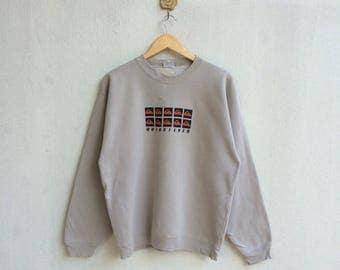 Vintage 90's Quicksilver Many Logo Sweatshirt Nice Design Hip Hop Style