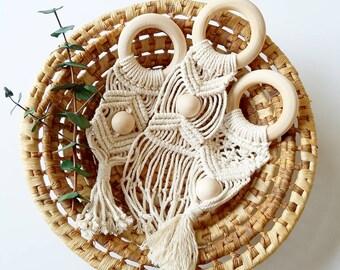 Macrame Teething Rings - Teething Ring - Wooden Teething Ring - Natural Wooden Teething Ring - Wooden Teething Toy