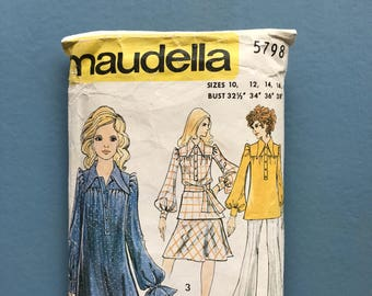 Maudella 5798 Retro Vintage 1970's Dress, Tunic, Smock, Flares, Bell-Bottoms, Turn-Ups, Flared Skirt, Sewing Pattern Size 10-16