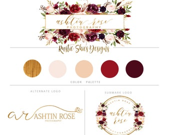 Floral Branding kit, Floral logo, Watermark, Photography logo, Calligraphy logo, gold, Custom logo, Premade logo, Camera Logo, boutique logo
