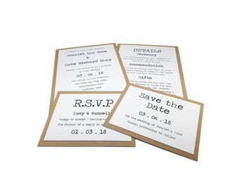Invitation, RSVP and Save the Date, Rustic Typewriter Wedding Stationery