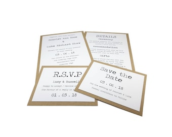 Invitation & Save the Date, Rustic Typewriter Wedding Stationery